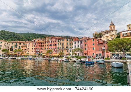 Fezzano Town And Harbor Near Portovenere, Liguria, Italy