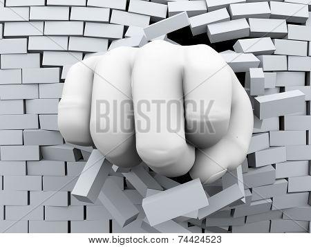 3D Fist Burst Through Brick Wall