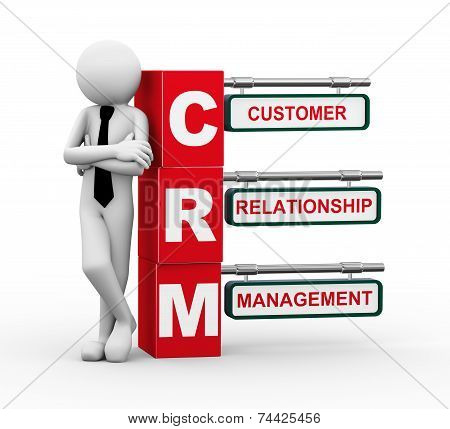 3D Businessman With Crm Signpost Illustration