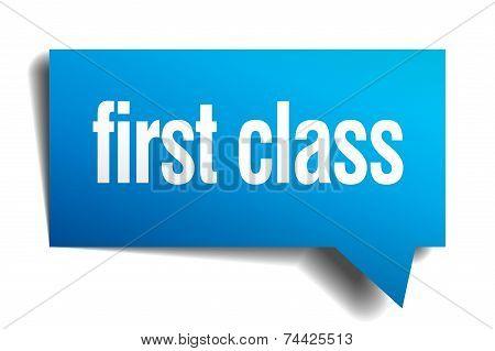 First Class Blue 3D Realistic Paper Speech Bubble