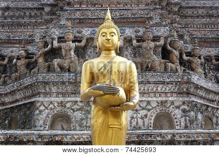 Thai Buddha in front of a stupa