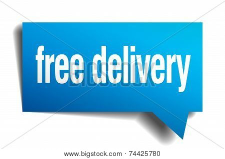 Free Delivery Blue 3D Realistic Paper Speech Bubble