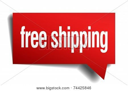 Free Shipping Red 3D Realistic Paper Speech Bubble