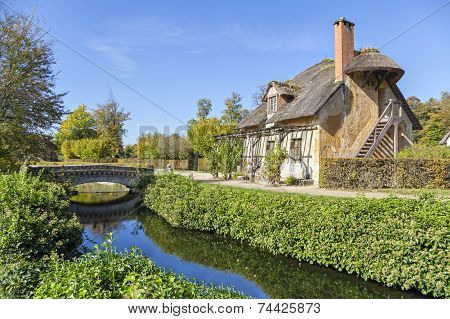 House With Thatched Roof In Queen's Hamlet, Versailles