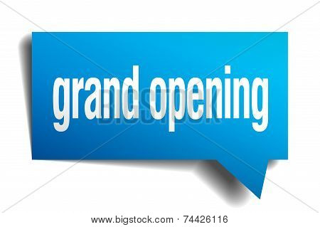 Grand Opening Blue 3D Realistic Paper Speech Bubble