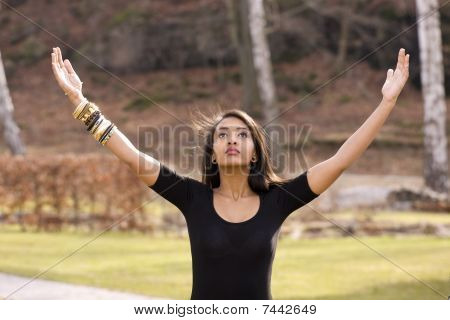 Girl Worships Nature