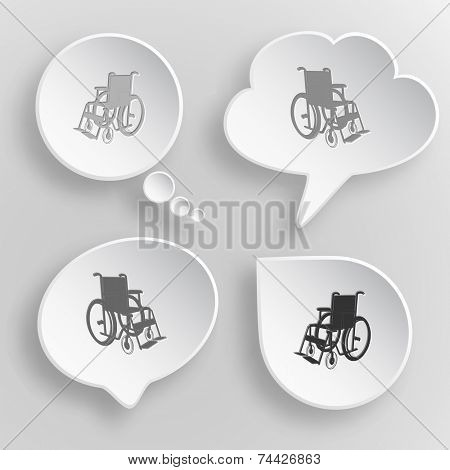 Invalid chair. White flat vector buttons on gray background.