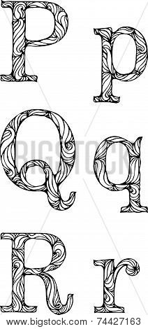 2_black And White Letters P Q R With Curly Pattern
