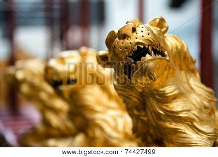 GREENWICH, LONDON - APRIL 06: Detail of Gold Lions on Ship at National Maritime Museum, London, England on April 06th, 2014