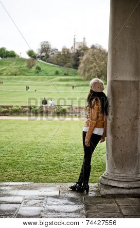 Woman Looking at Grounds of National Maritime Museum, Greenwich, London, England