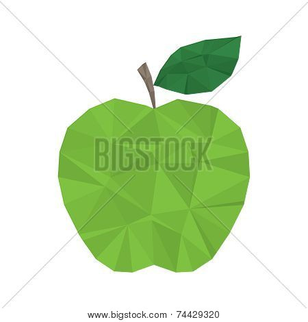 Green apple polygonal modern element
