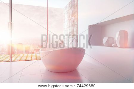3D Rendering of Freestanding bathtub in a modern white bathroom interior during sunset with light leaks