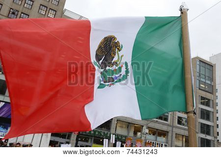 Mexican flag in Union Square Park
