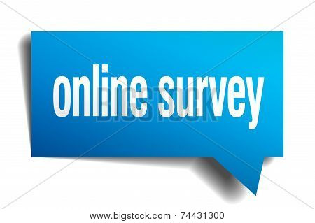 Online Survey Blue 3D Realistic Paper Speech Bubble