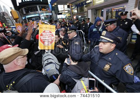 Crowd control barrier in Times Square