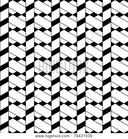 Black And White Geometric Seamless Pattern With Line, Rhombus, Trapezoid And Triangle.