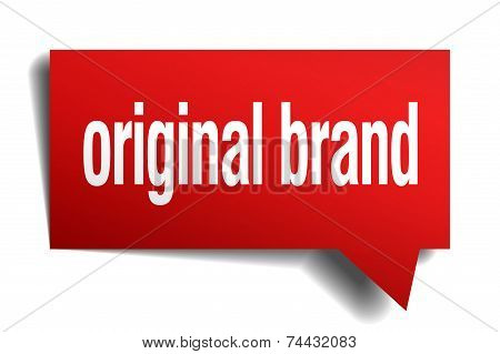 Original Brand Red 3D Realistic Paper Speech Bubble