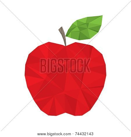 Red apple polygonal modern element