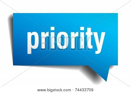 Priority Blue 3D Realistic Paper Speech Bubble
