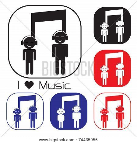 Creative Music Note Sign Icon And Silhouette People Symbol . Musical Symbol.