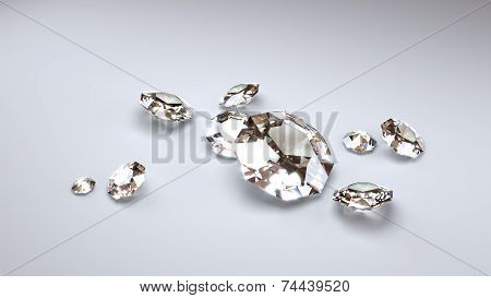 Big Diamonds On A Grey Background