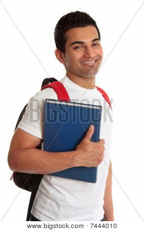 Ecstatic Ethnic Student Smiling Exuberantly