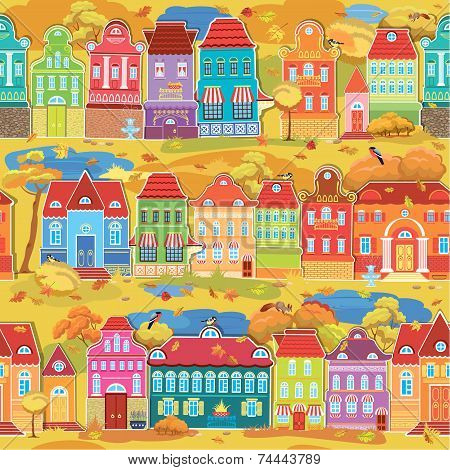 Seamless Pattern With Decorative Colorful Houses, Fall Or Autumn Season. City Endless Background. Re
