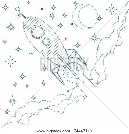 Cartoon Flying Rocket in the Sky with moon and stars.  Contour vector