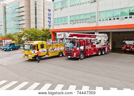 Fire-fighting Vehicles In Busan, Republic Of Korea