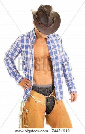 Cowboy Blue Plaid Shirt Look Down Face Hidden