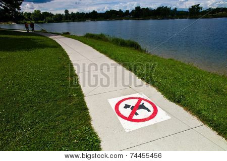 walkway with marking, dogs banned, symbol photo for bureaucracy