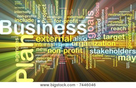Business Plan Word Cloud Glowing