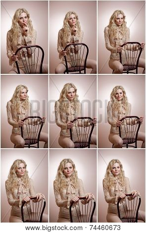Attractive fair hair model with in elegant nude blouse sitting provocatively on chair, studio shot.