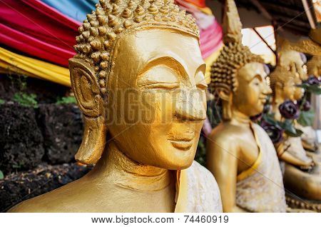 Buddism Statues In Laos Public Temple