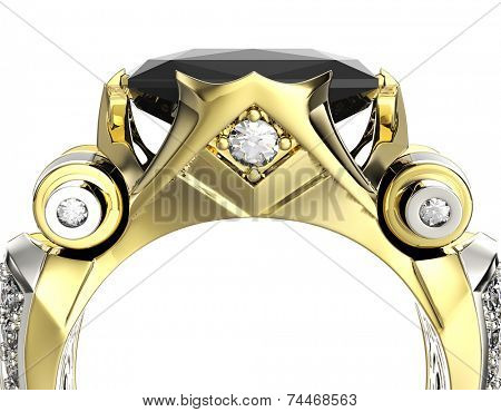 Wedding Ring with cognac diamond. Fashion Jewelry background