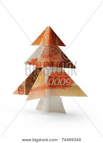 Christmas Tree Made Of Five Thousandth Ruble Bills