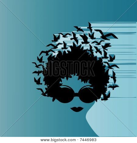 Woman Birds Design Wind