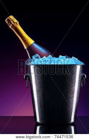bottle of champagne in ice bucket
