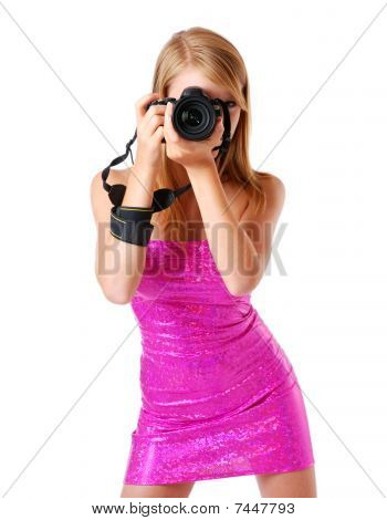 Pretty Woman Photographing With Camera