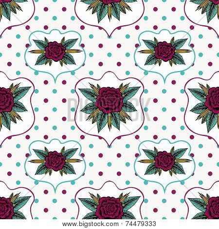 Vintage Roses And Polka Dot Seamless Pattern