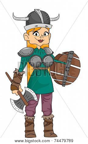 Illustration Featuring a Woman Wearing a Viking Costume and Carrying Viking Weapons