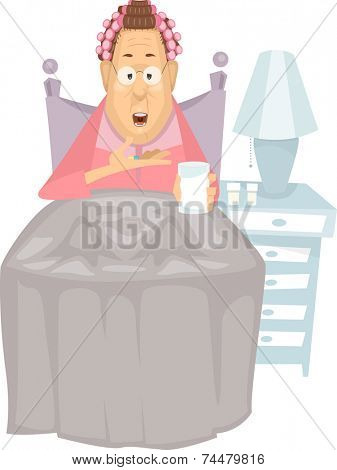 Illustration Featuring an Elderly Woman Taking a Pill