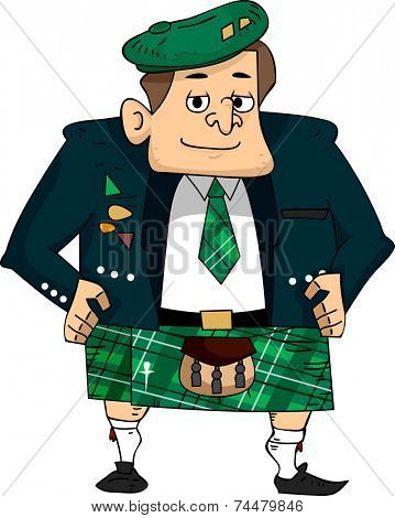 Illustration Featuring a Man Wearing a Scottish Costume
