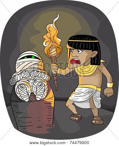 Illustration Featuring an Egyptian Man Who Has Just Found a Mummy
