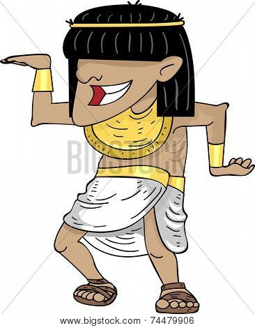 Illustration Featuring a Man Doing an Egyptian Dance