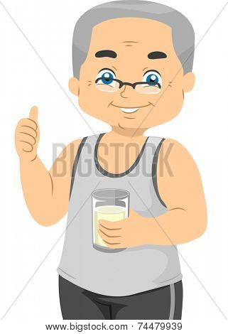 Illustration Featuring an Elderly Male Holding a Glass of Milk