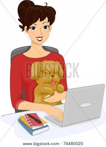 Illustration Featuring a Woman Browsing the Internet With Her Dog