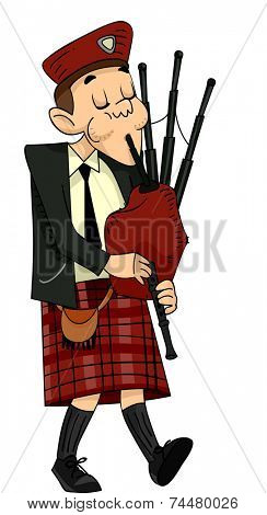Illustration Featuring a Scot Playing the Bagpipes