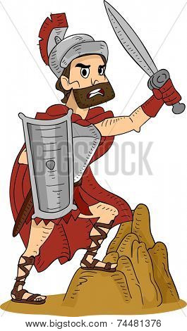 Illustration Featuring a Roman Warrior