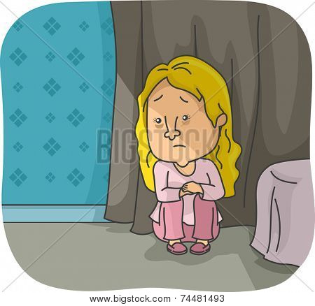Illustration Featuring a Depressed Girl Crouching in a Corner